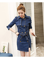 Women's Casual/Daily Simple Spring T-shirt Dress Suits,Solid Shirt Collar Long Sleeve Cotton