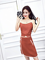 Women's Casual/Daily Simple Summer Tank Top Dress Suits,Solid Strap Sleeveless Cotton