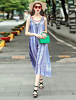 Women's Going out Casual/Daily Work Loose Dress,Color Block V Neck Midi Sleeveless Others Spring Summer Mid Rise Inelastic Medium