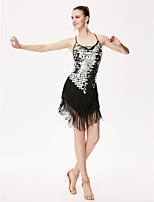 Latin Dance Leotards Women's Performance Chinlon Sequined Sequins Tassel(s) 1 Piece Sleeveless High Leotard