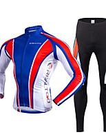 Cycling Jersey with Tights Men's Long Sleeve Bike Clothing SuitsThermal / Warm Quick Dry Fleece Lining Ultraviolet Resistant Front Zipper