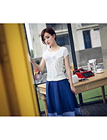 Women's Going out Simple T-shirt Skirt Suits,Solid Round Neck