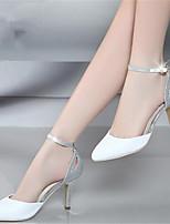 Mujer-Tacón Robusto Tacón Stiletto-Talón Descubierto-Tacones-Informal-PU-Blanco Rosa claro