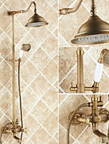Antique Centerset Rain Shower with  Ceramic Valve Two Handles Three Holes for  Antique Copper , Shower Faucet