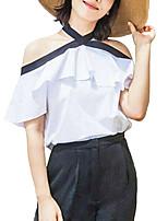 Damen Einfarbig Sexy Street Schick Strand T-shirt,Halter Sommer Kurzarm Kunstseide Polyester Dünn