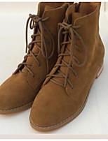 Mulheres botas de conforto primavera PU marrom caqui