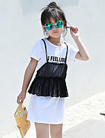 Girls' Going out Casual/Daily Print Sets,Cotton Polyester Summer Short Sleeve Clothing Set