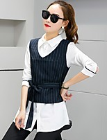 Women's Casual/Daily Simple Spring Shirt Pant Suits,Solid Shirt Collar Long Sleeve Cotton