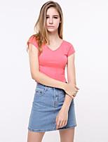 Damen Solide Sexy Ausgehen T-shirt,V-Ausschnitt Sommer Kurzarm Baumwolle Acryl Undurchsichtig