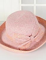 Для женщин Винтаж Очаровательный Для вечеринки Для офиса На каждый день Соломенная шляпа Шляпа от солнца Контрастных цветов