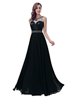 Formal Evening Dress Sheath / Column Jewel Floor-length Chiffon with