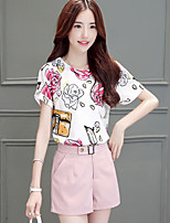 Women's Casual/Daily Work Simple Cute T-shirt Skirt Suits,Print Round Neck