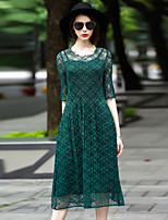 Women's Going out Casual/Daily Party Loose Dress,Solid Round Neck Midi ½ Length Sleeve Polyester Spring Summer Low Rise Micro-elastic