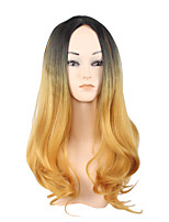 Long Side Black Golden Women Synthetic Wig Fiber Cheap Cosplay Party Hair