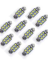 10 pcs 31 mm 6 * 2835 smd led voiture ampoule lumière blanche dc12v