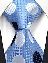 YXL5 Men's Neckties Laight Blue Polka Dot 100% Silk Business Dress Casual For Men