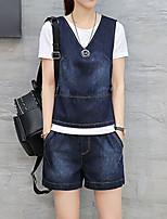 Damen einfarbig Einfach Ausgehen Lässig/Alltäglich Muskelshirt Rock Anzüge,Rundhalsausschnitt Jeansstoff