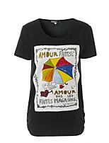 Tee-shirt Femme,Couleur Pleine Imprimé Lettre Sortie Décontracté / Quotidien Chic de Rue Sophistiqué Eté Manches Courtes Col Arrondi Coton