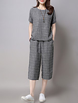 Women's Casual/Daily Simple T-shirt Pant Suits,Plaid Round Neck Micro-elastic