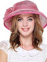 Для женщин Винтаж Очаровательный Для вечеринки Для офиса На каждый день Панама,Весна Лето осень Зима Лён Однотонный