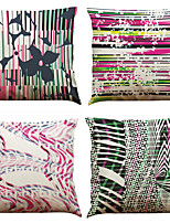 Set of 4 Odd Geometry  Pattern  Linen Pillowcase Sofa Home Decor Cushion Cover