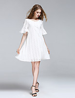 8CFAMILY Women's Going out Casual/Daily Simple Cute Street chic A Line Dress,Solid Round Neck Knee-length ½ Length Sleeve Cotton Summer Mid Rise