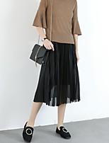 Women's High Rise Midi Skirts Swing Solid