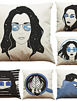 Set of 6 Black and White Blue Girl  Pattern Linen Pillowcase Sofa Home Decor Cushion Cover  Throw Pillow Case (18*18inch)