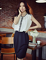 DABUWAWA Women's Going out Casual/Daily Work Simple Street chic Sophisticated Bodycon Sheath Black and White DressColor Block Patchwork Round Neck