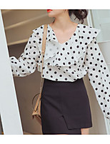 Women's Casual/Daily Simple Blouse,Polka Dot Round Neck Long Sleeve Silk