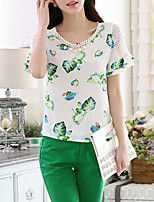 Women's Going out Casual/Daily Simple Summer Fall Blouse,Floral Print Round Neck Short Sleeve Silk Cotton Opaque
