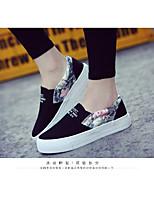 Белый Черный Серый-Для женщин-Повседневный-ПолотноУдобная обувь-Мокасины и Свитер