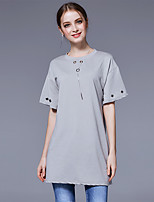 Women's Going out Casual/Daily Simple Street chic Summer T-shirt,Solid Round Neck ½ Length Sleeve Cotton Polyester Medium