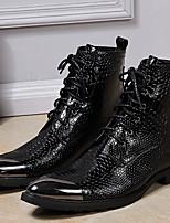 Черный-Для мужчин-Для прогулок Для офиса Повседневный Для вечеринки / ужина-Наппа LeatherФормальная обувь-Ботинки