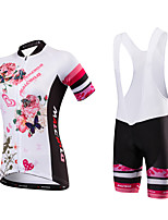 Cycling Jersey with Shorts Women's Short Sleeve Bike Jersey Bib TightsQuick Dry Anatomic Design Moisture Permeability High Breathability