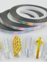 30pcs/box 3mm 20m Fashion Laser Silver Sparkling Rainbow Foil Striping Tape Line Nail Art Glitter Foil Striping Tape Line Sticker  Decoration