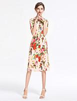 Для женщин На выход На каждый день Секси Уличный стиль Изысканный Оболочка Платье Цветочный принт,Круглый вырез До коленаС короткими