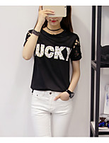 Women's Casual/Daily Simple T-shirt,Solid Round Neck Short Sleeve Cotton Polyester