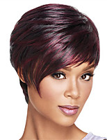 Capless Short Bobo Side Bang Kinky Straight Synthetic Wigs for Women Ombre Red Wine Heat Resistant with Free Hair Net