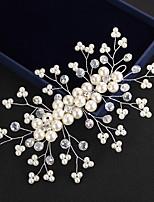 13*8cm Crystal Imitation Pearl Headpiece-Wedding Special Occasion Outdoor Tiaras Headbands Flowers Head Chain 1 Piece for Wedding Bride