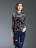 Для женщин На выход На каждый день Пляж Весна Осень Блуза Рубашечный воротник,Винтаж Простое Уличный стиль С принтом Рукав ¾,Полиэстер,