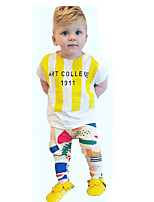 Boys' Going out Casual/Daily Sports Striped Print SetsCotton Summer Short Sleeve Clothing Set Kids Clothes