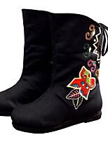 Черный Красный Зеленый-Для женщин-Повседневный-Ткань-На плоской подошве-Удобная обувь-Ботинки