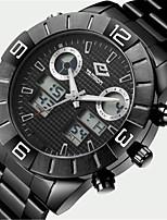 Hombre Reloj Deportivo Reloj de Moda Cuarzo Acero Inoxidable Banda Negro