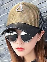 Circle with A Triangle Hang net cap Sequins Color Block Sunscreen Shading Mesh Patchwork Beach Sun Hat Baseball Cap