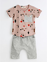 Unisex Casual/Daily Print Sets,Cotton Summer Short Sleeve Clothing Set