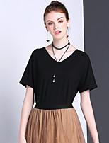 Damen Solide Einfach Sport Lässig/Alltäglich T-shirt,V-Ausschnitt Sommer Kurzarm Polyester Elasthan Mittel