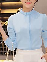 Для женщин На каждый день Офис Большие размеры Весна Осень Рубашка Воротник-стойка,Простое Уличный стиль Однотонный Длинный рукав,