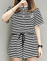 Women's Going out Casual/Daily Street chic Sophisticated Shirt Skirt Suits,Striped Stand
