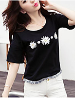 Women's Casual/Daily Sexy Simple Spring Summer T-shirt,Print Round Neck Short Sleeve Polyester Medium